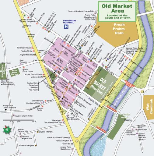 Mapka centra, v ktorej môžete vidieť množstvo reštaurácii a pubov