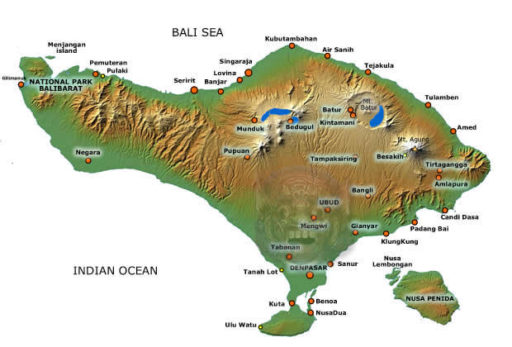 Mapka Bali pre lepšiu predstavu